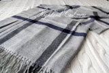 Worsted Cashmere Shawl with Check Pattern-Cashmere Scarf