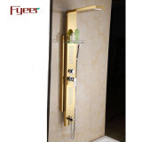 Fyeer Golden Stainless Steel Shower Panel with Removeable Shower Head