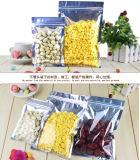Flat Bottom Clear Aluminum Foil Packing Valve Zipper Pouch/Reclosable Mylar Auto Zip Lock Bag for Candy Coffee