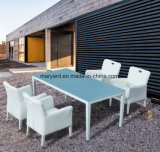 Garden White Leather Chair Patio Dining Furniture