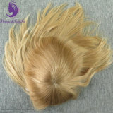 Blond Color European Hair Injected Men's Toupee in Stock