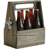 Wooden Beer Caddy Bottle Carrier with Opener