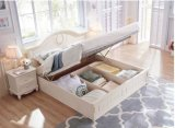 Custom Made European Style White Storage Wooden Bed for Bedroom