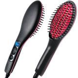 LCD Temperature Control Hair Straightener Brush with Ceramic Bristles