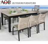 Modern Wholesale Outdoor Garden Hotel Patio Sea Side Rope Woven Light Beige Tables and Chairs Dining Furniture