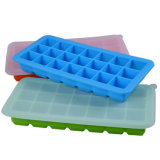 Eco-Friendly Food Grade Ice Maker Mould 21 Cavities Soft Silicone Ice Cube Tray with Cover