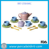 Solid Toy Tea Set with Green Saucer