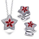 Custom Design 925 Sterling Silver Star Jewelry Set Ruby Stone