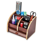 Wooden Pen Holder Name Card and Remote Control Storage Box