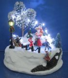"Resin Christmas 8"" LED Fairground with Moving Skating Christmas Decoration"