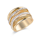 Zinc Alloy Fashion Jewelry Rhinestone Gold Ring for Women