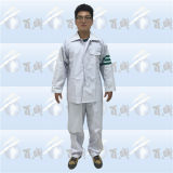 White PVC/Polyester/PVC Rain Suit with Reflective Tape