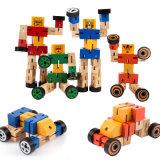Wooden Kids Creative Transform Robot Shape Car Puzzle Educational Toys