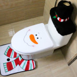 3 PCS Sets Christmas Decorations Santa, Snowman, Reindeer Toilet Lid Covers and Rug Set Toilet Seat Covers