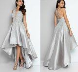 Silver Evening Party Dress Pearls Beaded Hi-Low Bridal Prom Cocktail Dress E02