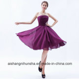 Purple Strapless Knee Length Chiffon Bridesmaid Dress with Ruched Bodice