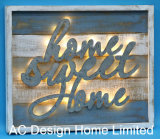 Vintage Antique Rectangular Home Sweet Home Design Wall Decor Wooden Shadow Box W/LED Light