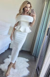 White Maxi Evening Gown off Shoulders Dress Bandage Dress with Party Wear Prom Wear and Celebration Wear