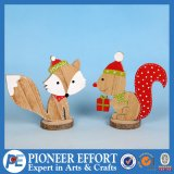Wooden Christmas Fox and Squirrel Design for Tabletop Decor