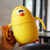 Cute Chick Shape Kid's Cartoon Glass Water Bottle with Straw