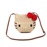 New Cartoon Image Hand Woven Ladies Shoulder Bag Rattan with PU Strap