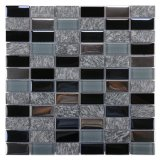 Foshan Wholesale Building Material Kitchen Backsplash Bathroom Marble Wall Decoration Antique Electroplated Black Gray Rectangle Crystal Stone Glass Mosaic Tile