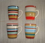 Ceramic Stoneware Hand Painted Striped Coffee Mug