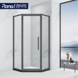 Bathroom Household Stainless Steel Tempered Glass Sliding Shower Room with Black Frame