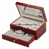 Burlwood High Gloss Finish Jewelry Packaging Gift Box with Drawer