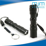 Cheap 3W Black Superbright LED Flashlight Small Electric Torch with Key Ring