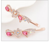 Hair Styling Tools Women Gold Plated White Rhinestone Hair Clip