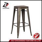 Commercial High Metal Bar Stool with Wooden Seat