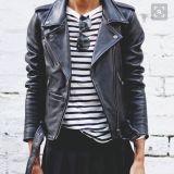 OEM Service Girls Leather Jacket Black Biker Leather Jacket