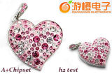 Crystal Heart Shape USB Flash Drive (OM-C111)