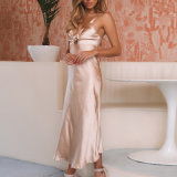 Wholesale Price Braces Hollow Back Satin Evening Dress