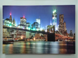 Wholesale at Night The Bridge Modern Declration Oil Painting LED Lighted up Canvas Wall Art