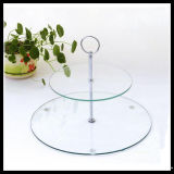2 Tier Clear Tempered Glass Plate with Handle