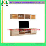 Wooden TV Stand with Bookcase