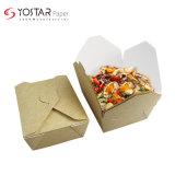 Compostable Multilayered Kraft Back Food Paper Cardboard 650ml Takeaway Box, Fried Noodle Box with Waterproof