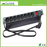 Customized French Type 8 Way Power Distribution Unit, 19 Inch 1u Outlet PDU Switch