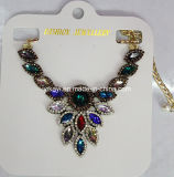 Lady Fashion Colorful Glass Crystal Pendant Necklace Costume Jewelry (JE0209)