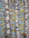 Handmade White Birch Tree Oil Painting for Wall Decor