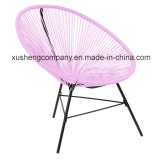 Three-Piece Round Rattan Colored Table and Chair.