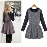 European and American Women Long Sleeved Plaid Dress/Hot Sale Autum and Winter Plaid Dress for Women D1556