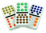 Dominoes Double 15, Solid White with Dots/Pips, 136 Professional Size Dominoes in Tin Case