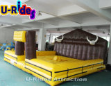 Air seal inflatable mat for bull rodeo machine