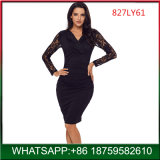 Black V Neck Woman New Sexy Bodycon Lace Dress for Wholesale