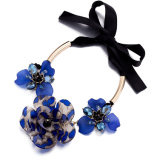 Gold Plated Flower Lacing Bow Alloy Necklace Fashion Jewelry