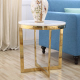 Glass Top Stainless Steel Dining Table, Golden Color Glass Furniture
