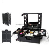 Makeup Train Case with Mirror and LED Lights Hollywood Vanity Set Rolling Travel Cosmetic Organizer Box